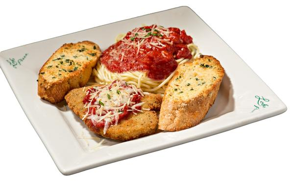 Photo of chicken parm with spaghetti and garlic bread