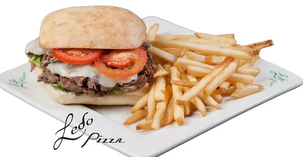 photo of ledo steak and cheese sandwich with fries